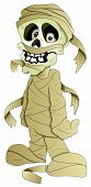 stock photo of mummy  - Drawing Art of Scary Spooky Halloween Cartoon Mummy Zombie Character Vector Illustration - JPG