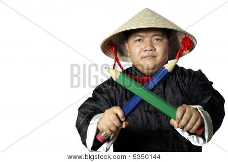 Asian Warrior With Large Pencils