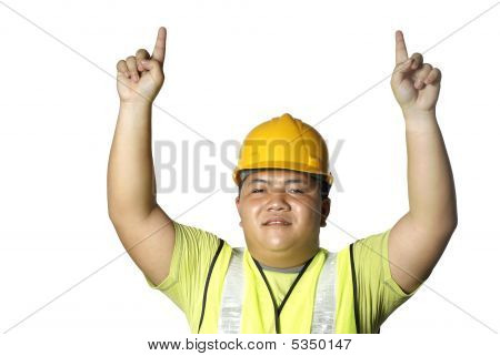 Asian Construction Worker Pointing Up