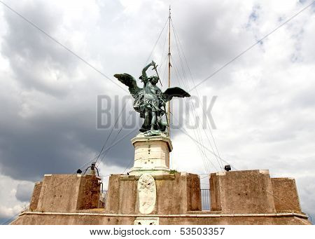 Bronze Statue Of An Angel On Top Of The Castle In Rome Italy