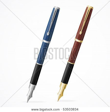 Vector two Fountain pens isolated gold and silver