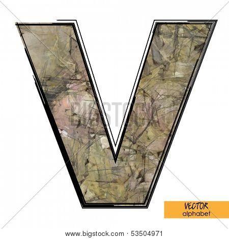 art sketched stylization alphabet in vector, colorful font, sign V