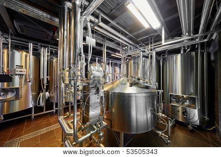 Hall with brewing equipment