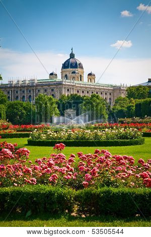 Park Volksgarten In Front Of Hofburg, Vienna