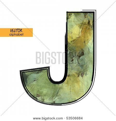 art sketched stylization alphabet in vector, colorful font, sign J