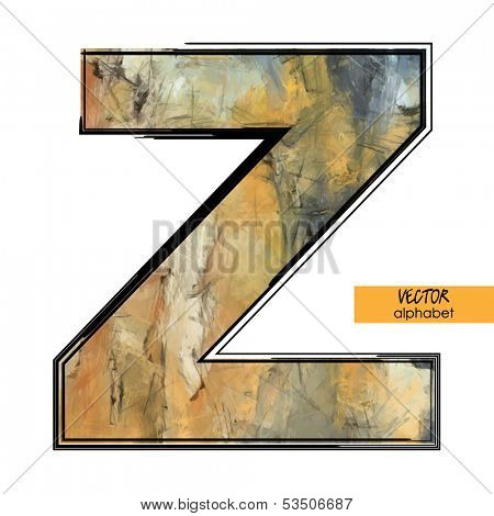 art sketched stylization alphabet in vector, colorful font, sign Z