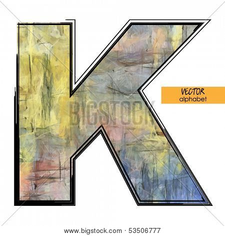 art sketched stylization alphabet in vector, colorful font, sign K