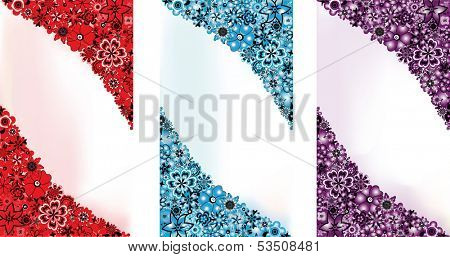 Abstract flowers backgrounds in 3 colors (red, blue and lilac) and space for the text
