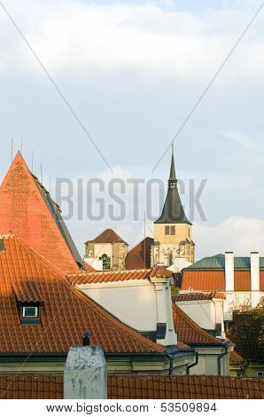 Typical Architecture Rooftops  Krakow Poland Historic District Old Town With Church In Background