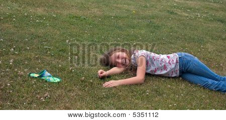 Girl Laughing As She Lost Her Sandal