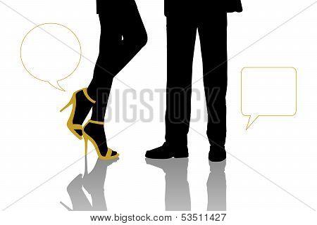 Dialogue Between Businessman And Beautiful Woman Standing