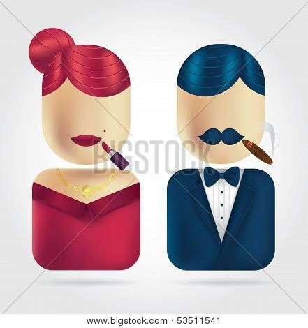 Lady & Gentleman Icons Set