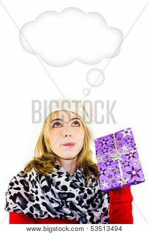 Beautiful woman with a Christmas gift - white background