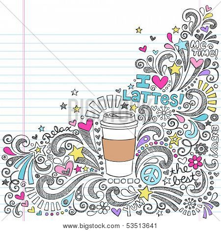 Coffee Latte Hot Drink  Sketchy Back to School Vector Illustration Sketchy Notebook Doodles on Lined Sketchbook Paper
