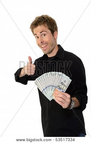 Young Man Holding Hundred Dollar Bills