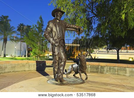 A Sculpture, Mayor Drinkwater And His Dog Sadie