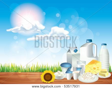 Dairy Products On Wooden Table Vector Background