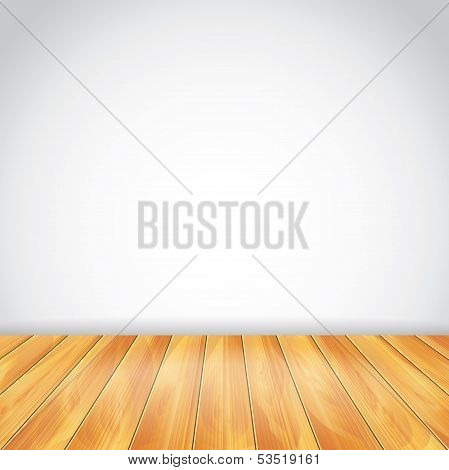 White Wall And Wood Floor, Vector Background