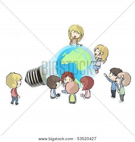 Kids Around Eco Light Bulb With World Inside. Vector Background Illustration.