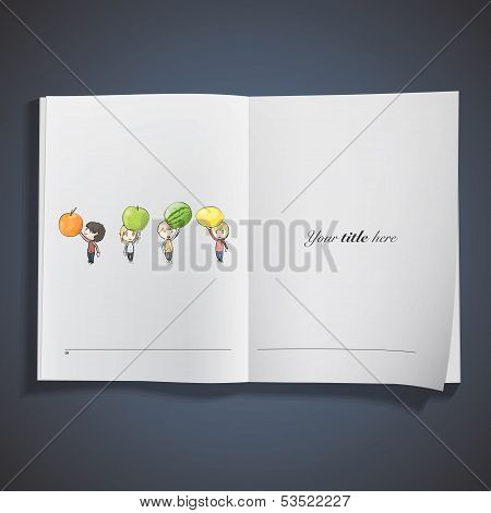 Kids Holding Fruits Printed On Book. Vector Design.