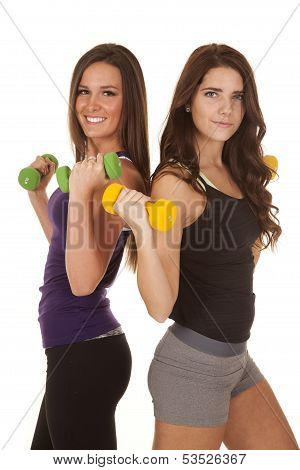 Two Women Fitness Weights Back To Back