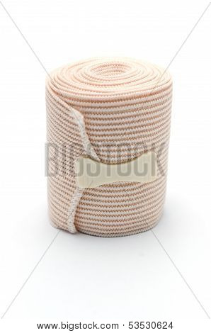 Elastic ACE compression bandage warp unwrapped, isolated