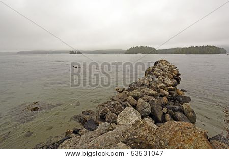 Breakwater And Fog On A Coastal Harbor