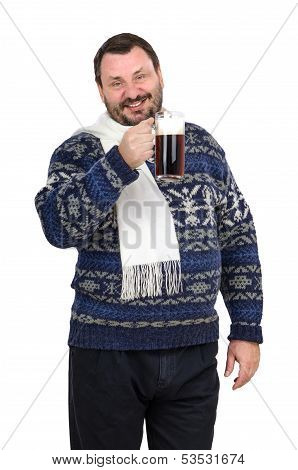 Fat Man Is Holding Ale Pint And Invites To The Pub