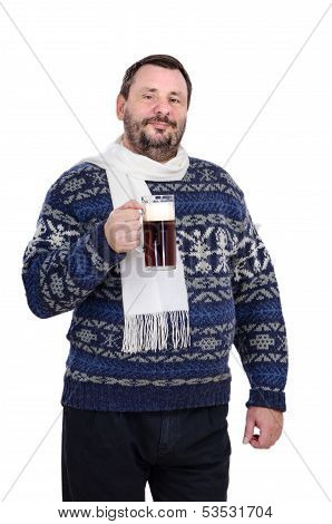 The Bearded Man In A White Scarf Is Holding Stout Mug