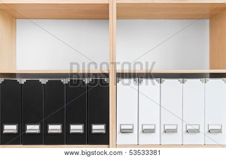 Bookcase With Black And White Folders