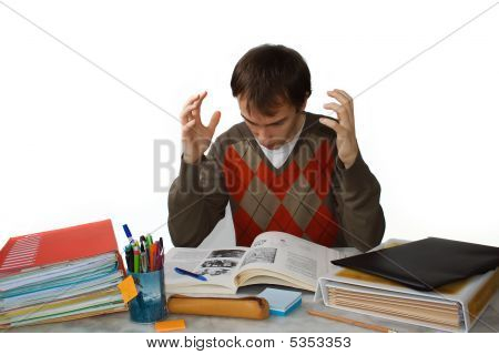 Student At Table, Frustrated