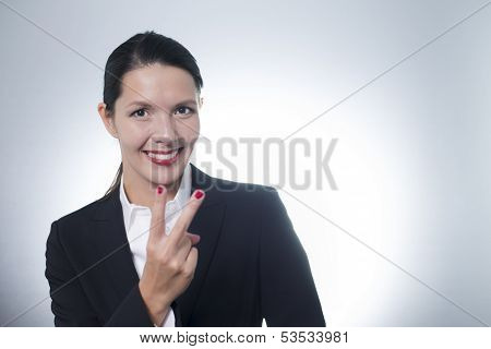 Jubilant Businesswoman Cheering