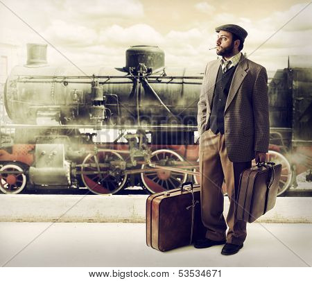 Emigrant To The Train Station With Cardboard Suitcases