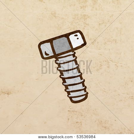 Metal Screw. Cute Hand Drawn Vector illustration, Vintage Paper Texture Background