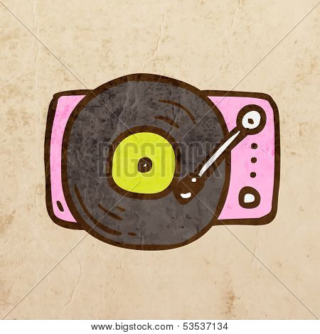 Retro Turntable. Cute Hand Drawn Vector illustration, Vintage Paper Texture Background