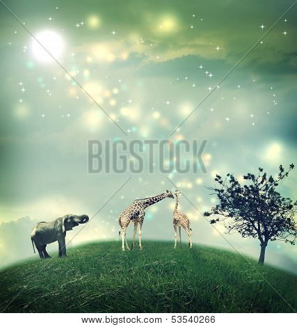 Giraffes And Elephant On A Hilltop