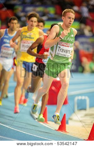 GOTHENBURG, SWEDEN - MARCH 1  John Travers (Ireland) places 11th in heat 3 of the men's 3000m event during the European Athletics Indoor Championship on March 1, 2013 in Gothenburg, Sweden.