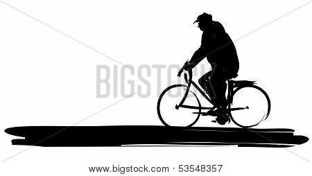 Stylized Man on Bike