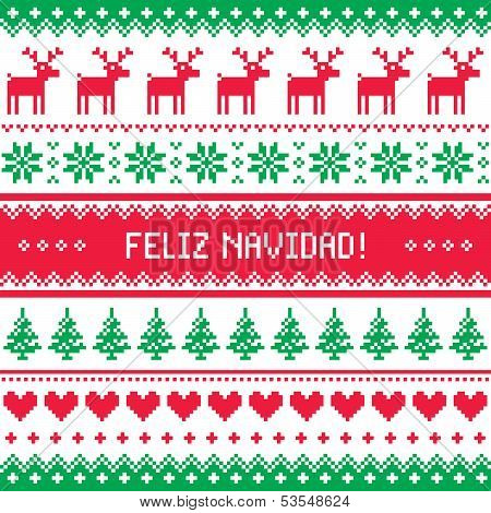 Feliz navidad card - scandynavian christmas pattern