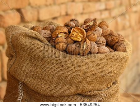Burlap Sack Filled With Walnuts