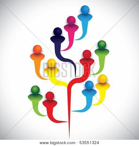 Tree Of Related People Or Group Of Diverse Employees Or Kids & Students