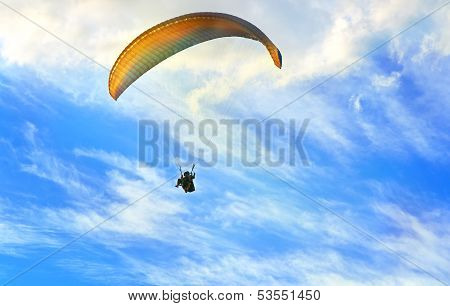 Paragliding Extreme Sport With Blue Sky And Clouds On Background Healthy Lifestyle And Freedom Conce