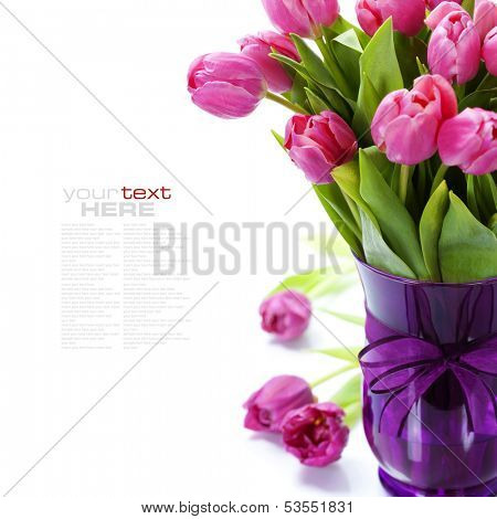 Pink tulips Valentine's day over white (with easy removable text)