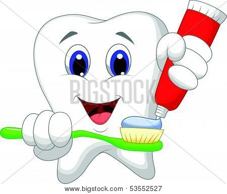 Tooth cartoon putting tooth paste on her toothbrush