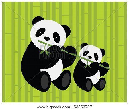 Two pandas. Vector illustration.