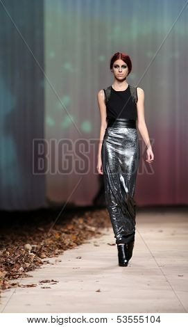 ZAGREB, CROATIA - OCTOBER 23: Fashion model wearing clothes designed by Tatjana Pantos on the Cro a Porter show on October 23, 2013 in Zagreb, Croatia.