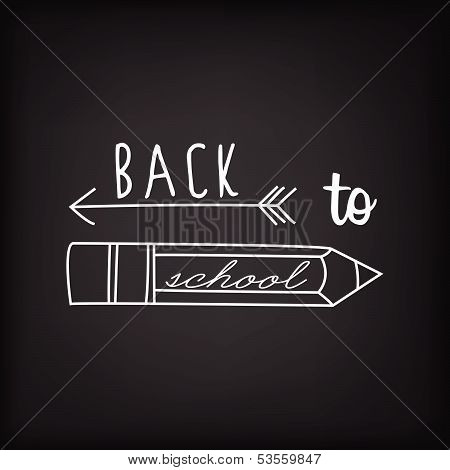 Back To School Typography Background On Blackboard With Chalk