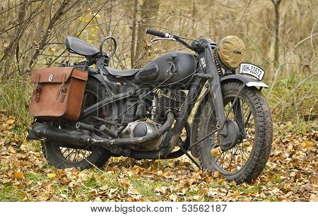 Kiev, Ukraine - November 3: German Heavy Motorcycle During The Second World War. Military Reconstruc