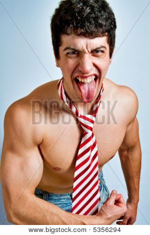 Scream Of Powerful Funny Man With Tongue Out