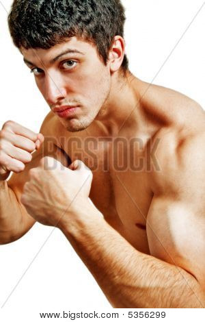 Male Tough Muscular Boxer Ready For A Fight